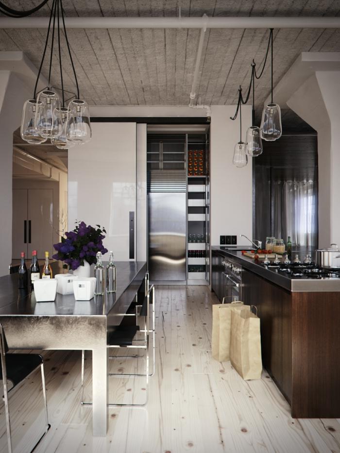 cuisine style industriel plafond et plancher en bois