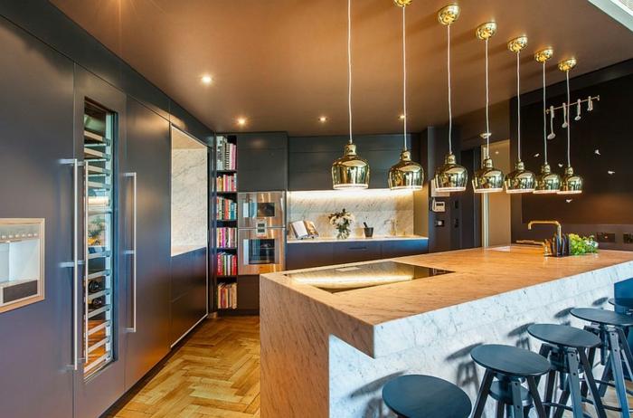 cuisine style industriel plan de travail marbre mobilier en bleu gris