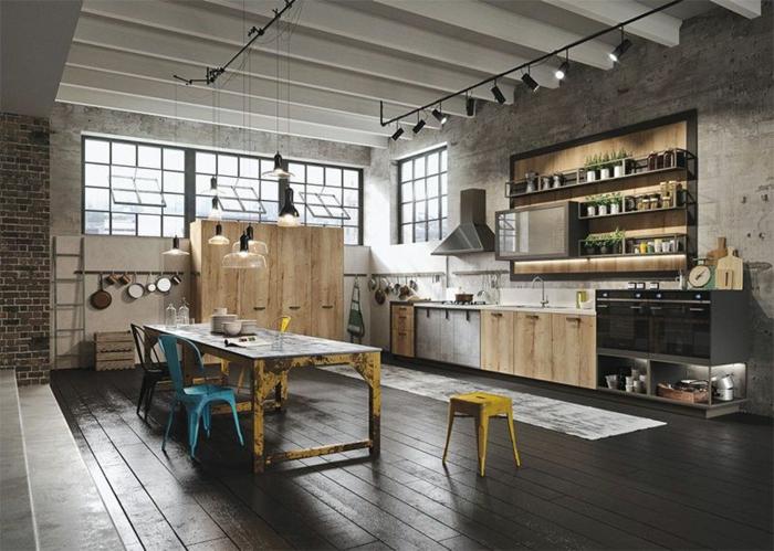 cuisine style industriel sol bois peint