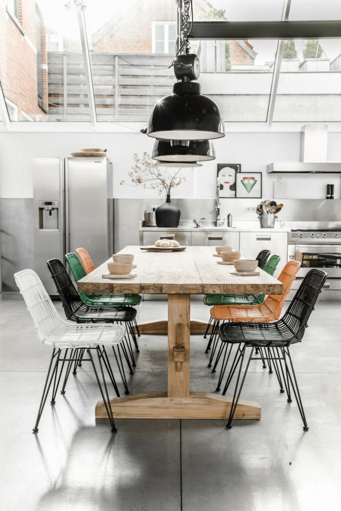 cuisine style industriel table bois massif luminaires en acier