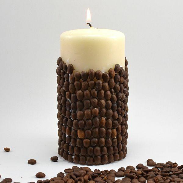 déco bougie graines de café pistolet à colle