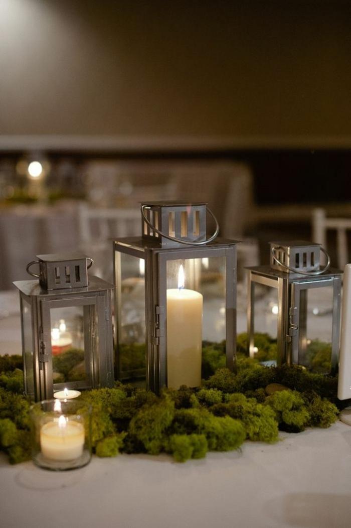 déco table mariage mousse végétale