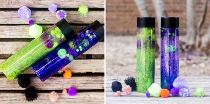 diy bouteille sensorielle sable magique à modeler