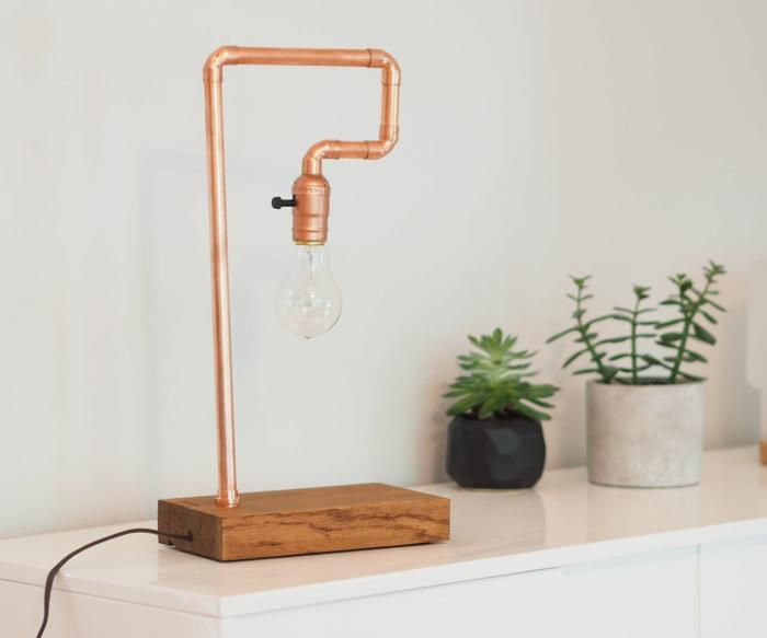 diy projet en cuivre luminaire fait maison