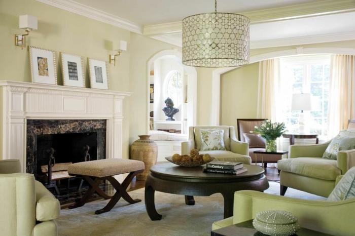 idée déco salon meubles en couleur sauge