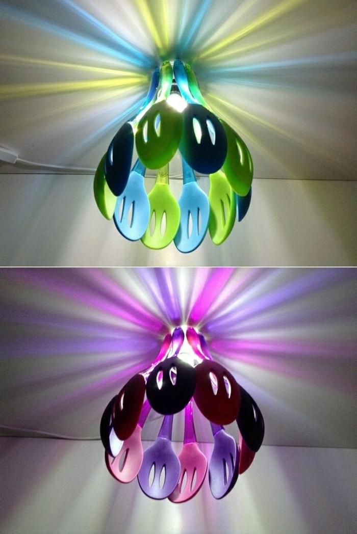 idée originale luminaire fait maison de cuillères