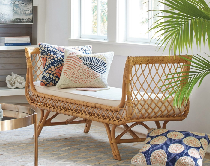 intérieur moderne avec un meuble en rotin