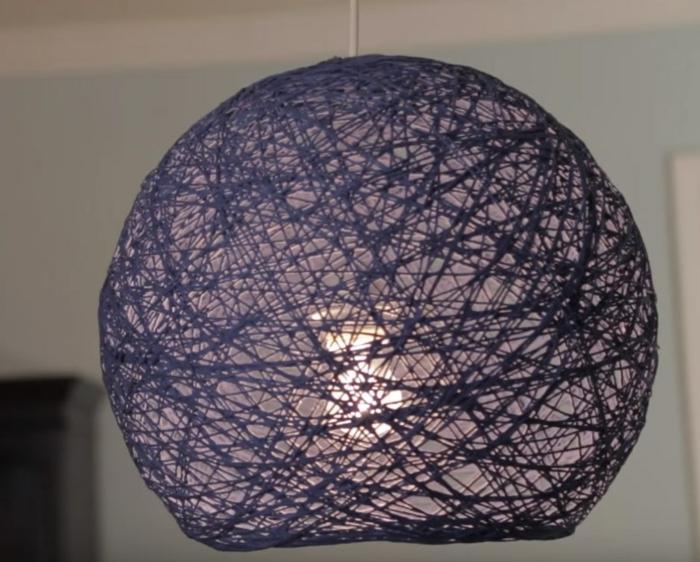 luminaire fait maison en ficelle