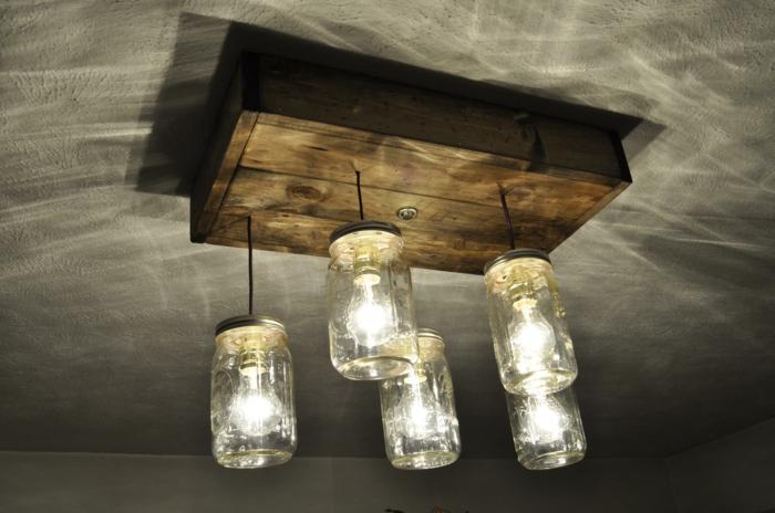 luminaire fait maison idée avec bocaux en verre