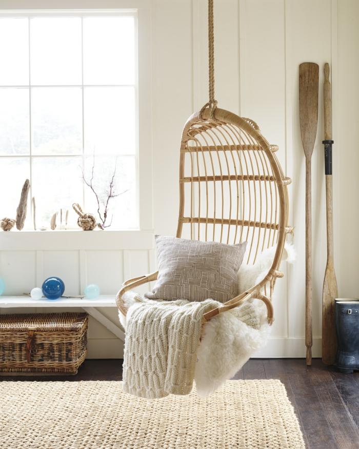 meuble en rotin idée de fauteuil suspendu