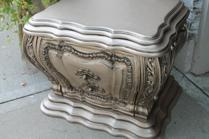 meubles relookés avec peinture effet métal