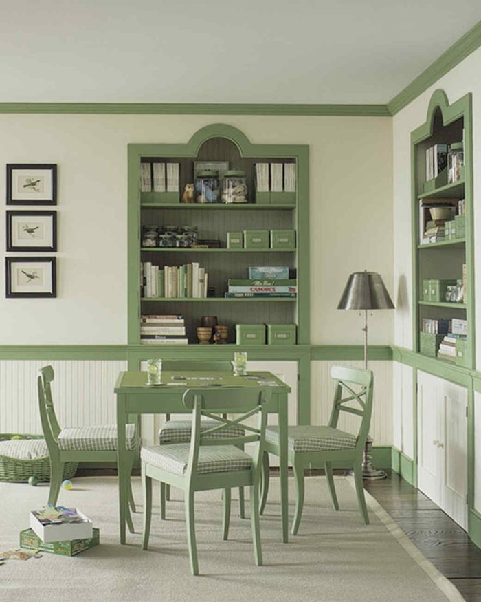 salle à manger mobilier en couleur sauge