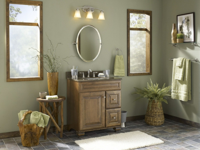 salle de bains couleur sauge et bois