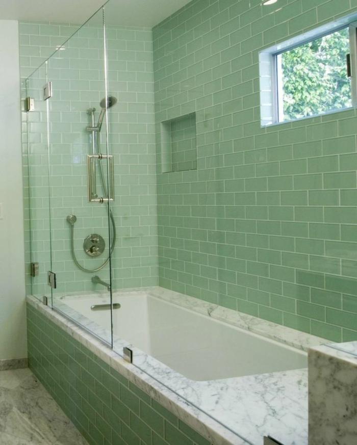 salle de bains tendance carrelage couleur sauge