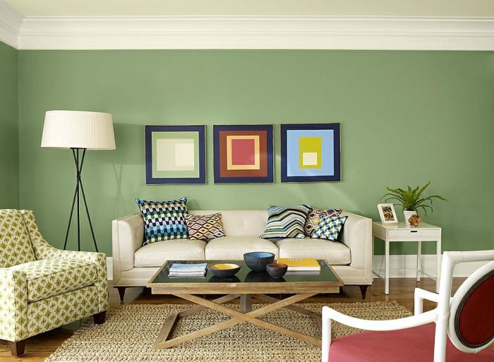 salon couleur sauge intense dco moderne