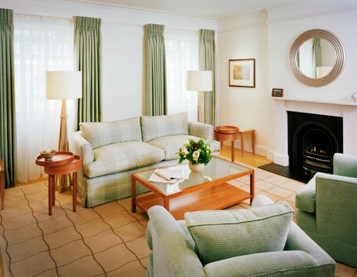 salon meubles en couleur sauge