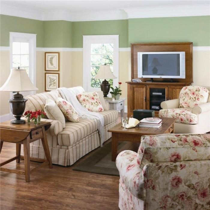 salon murs couleur sauge foncé
