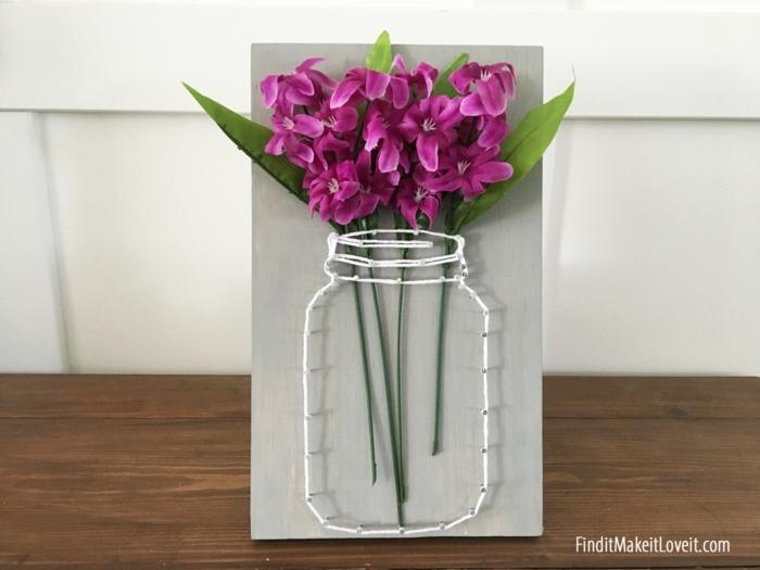 string art diy vase tableau fil tendu