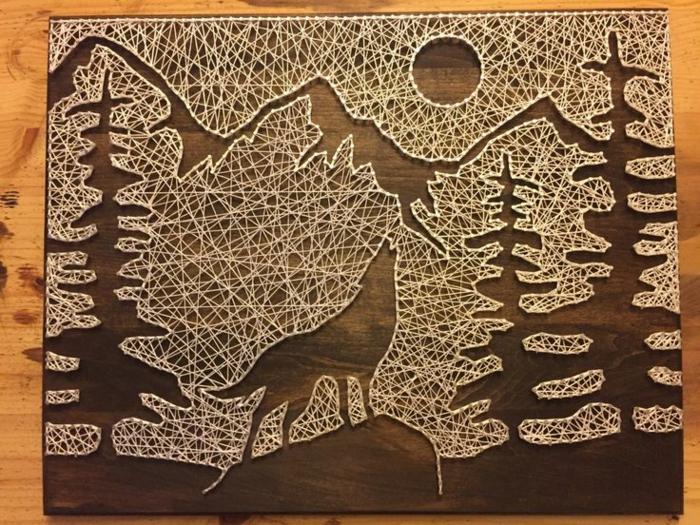 string art tableau fil tendu forêt