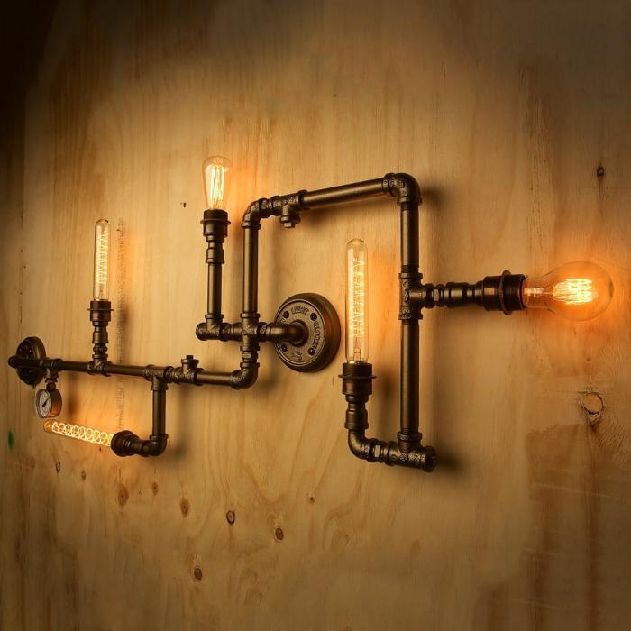 style industriel avec un luminaire fait maison