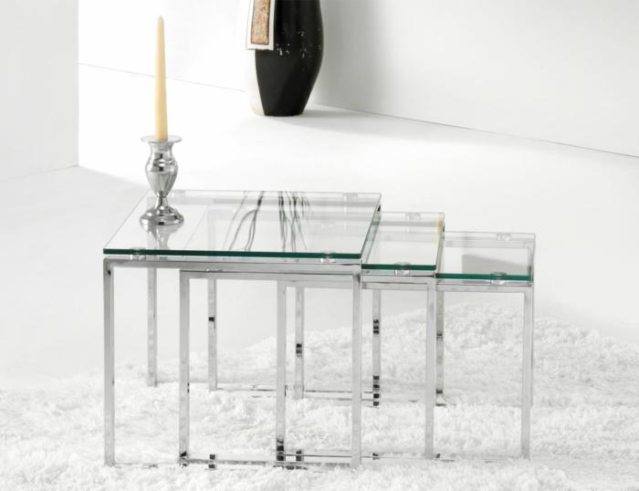 table gigogne modèle en verre