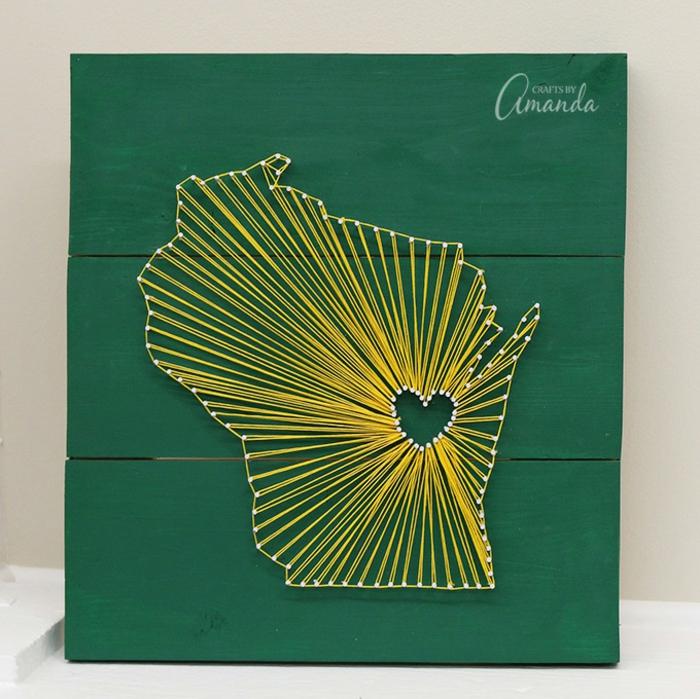 tableau fil tendu string art planche en bois
