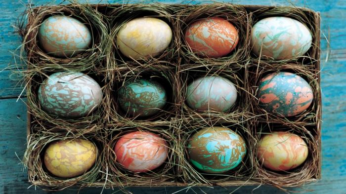 œuf de pâques marbré