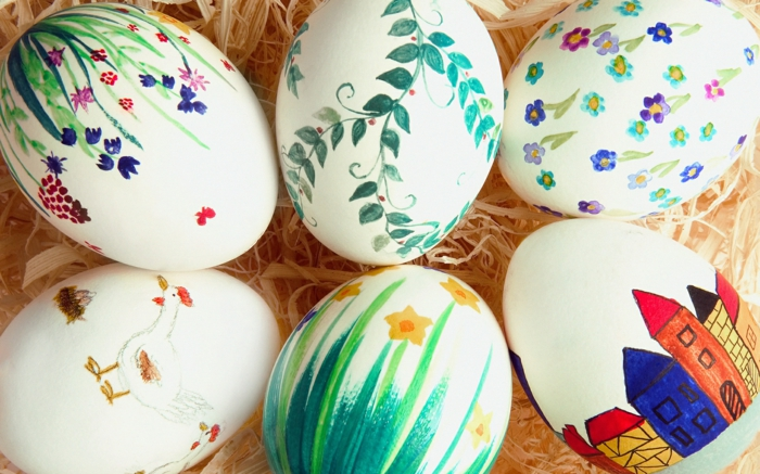 œuf de paques polystyrène décorer avec des enfants