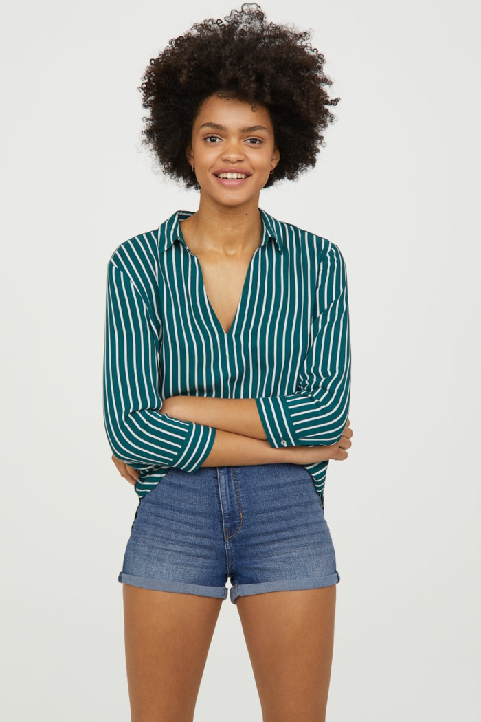 belle chemise femme rayures en couleur verte