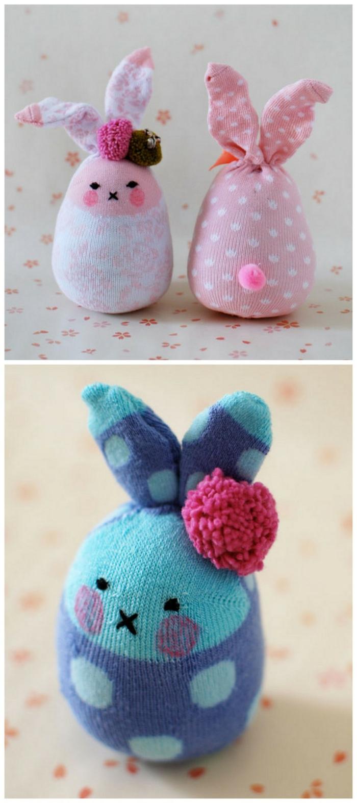 bricolage de Pâques idée déco avec des chaussettes