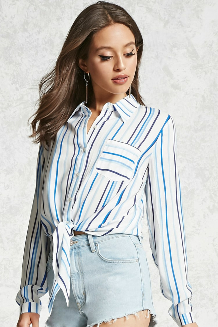 chemise femme rayures combinée avec denim