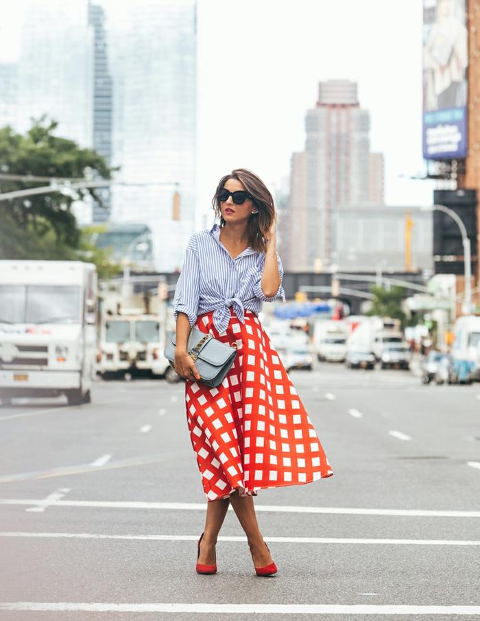 chemise femme rayures combinée avec jupe