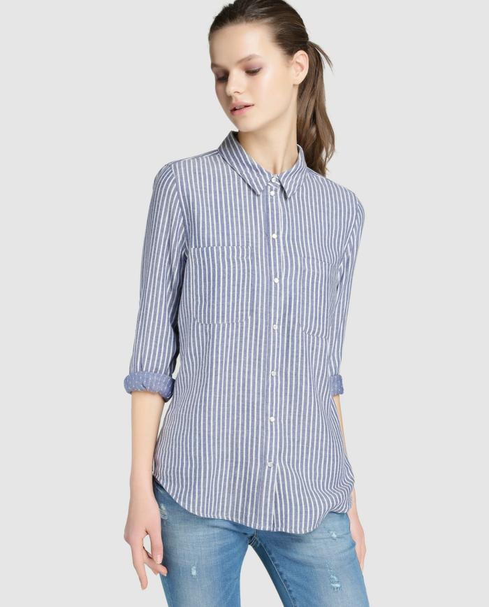 chemise femme rayures et jeans