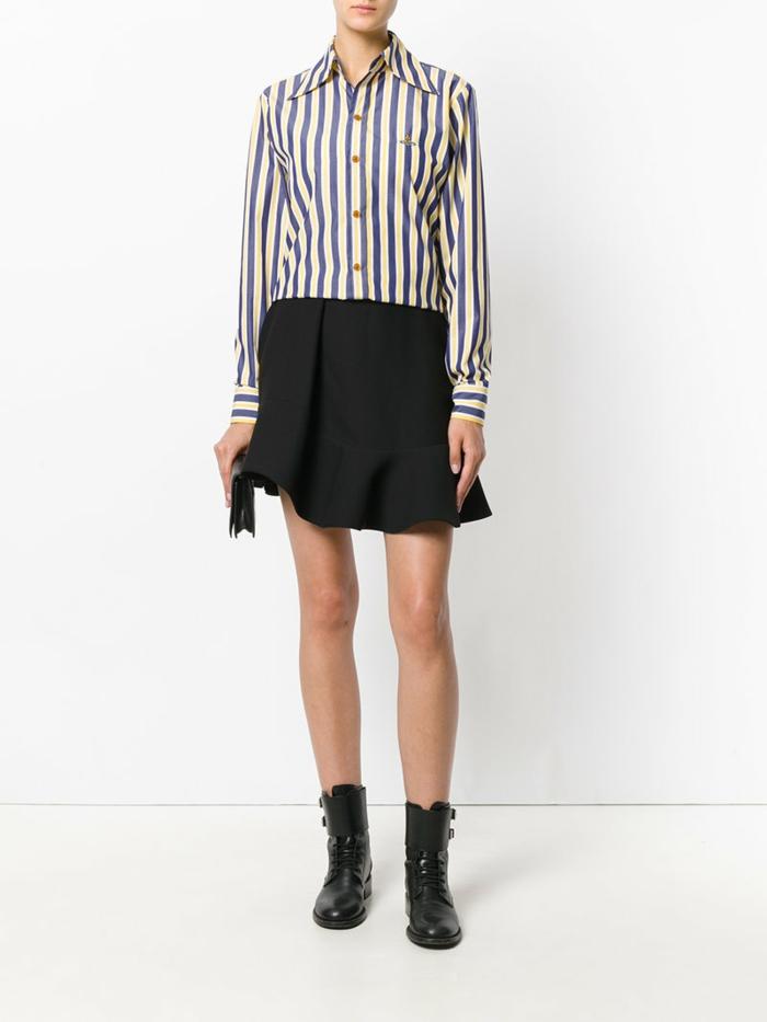 chemise femme rayures et jupe pour aller travailler