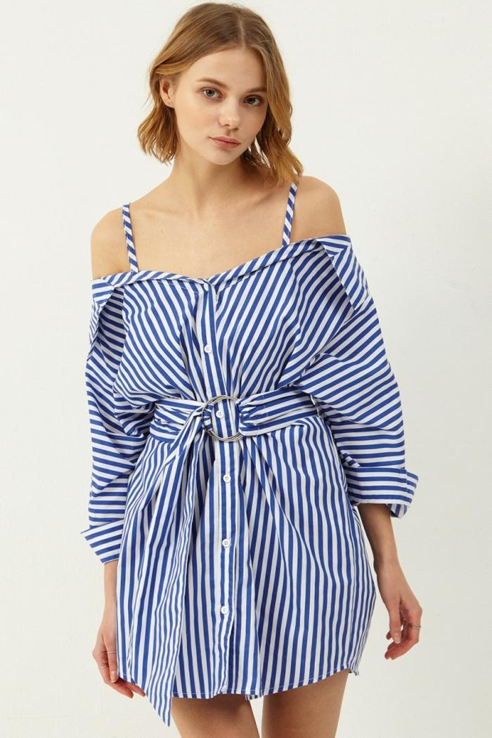 chemise femme rayures modèle chemise-robe