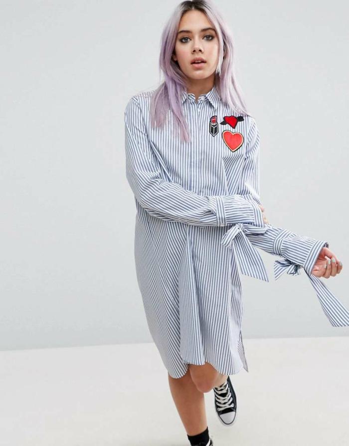 chemise femme rayures modèle robe