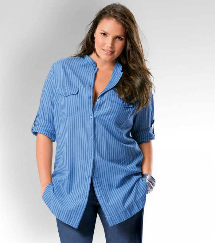 chemise femme rayures verticales bleues