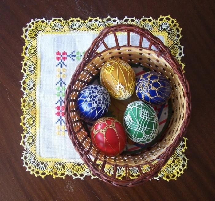 déco de pâques décoration oeufs avec du fil