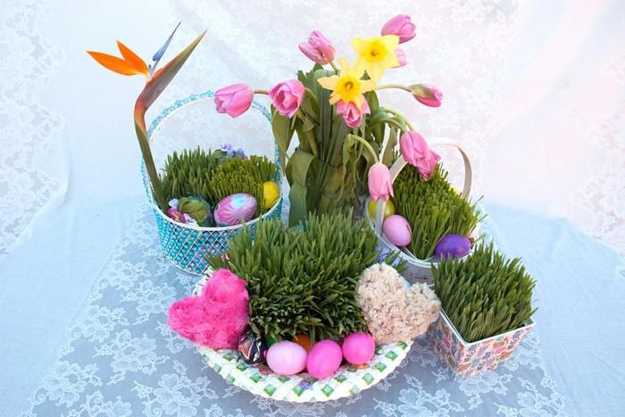 déco de table avec des plantes déco de pâques