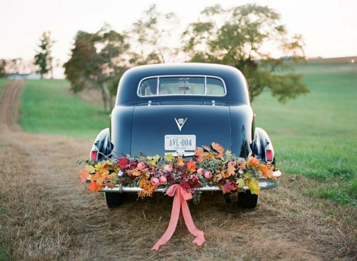 décoration voiture mariage shabbi shic