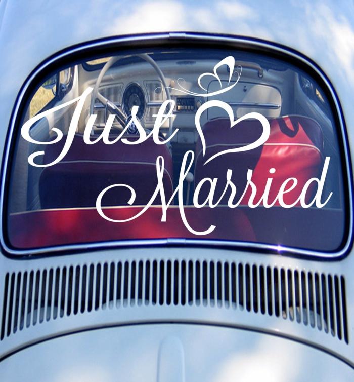 décoration voiture mariage stickers idée