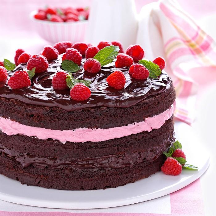 idée décoration gâteau chocolat et framboises