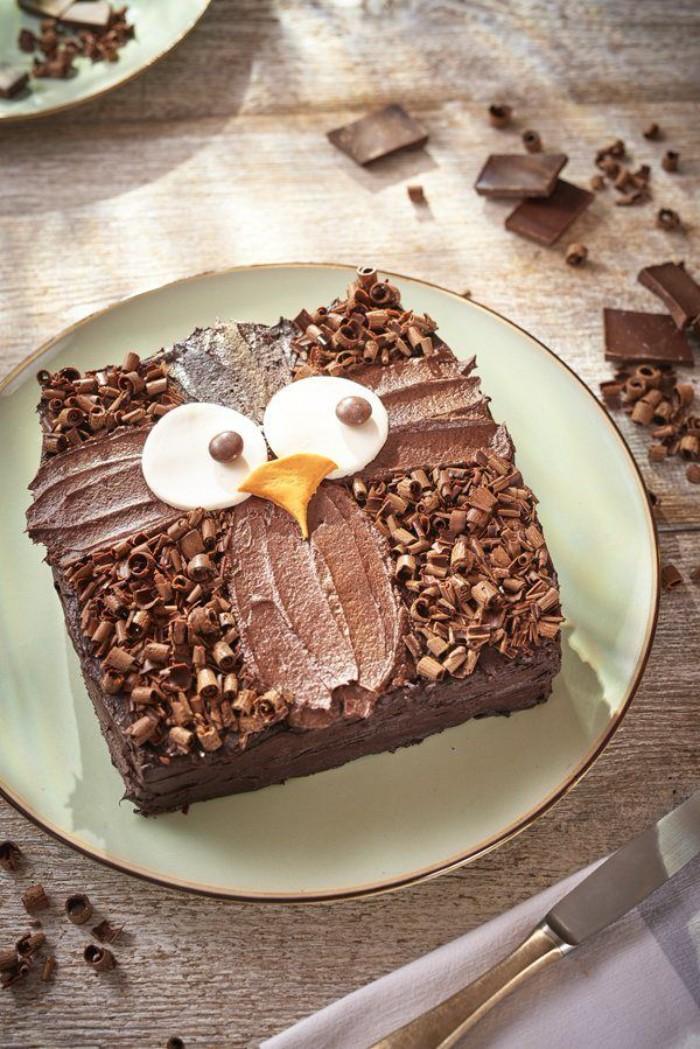 idée décoration gâteau hibou chocolat