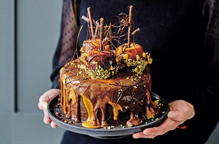 idée décoration gâteau pommes caramel