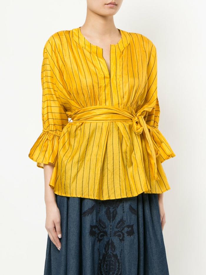 jupe longue et chemise femme rayures
