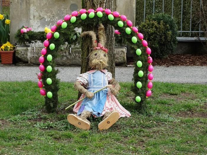 lapin de pâques recyclage déco de pâques jardin