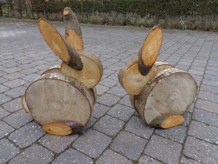 lapins de pâques en bois déco de pâques