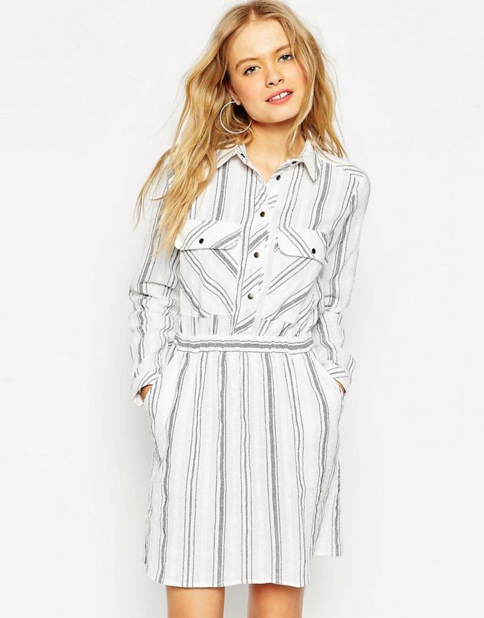 robe chemise femme rayures