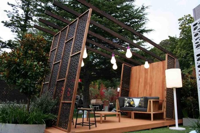 brise-vue construction en bois et acier corten