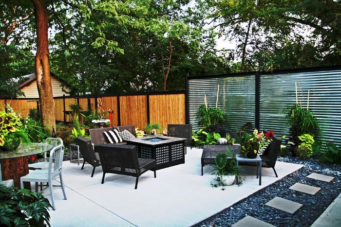 brise-vue jardin bois et verre